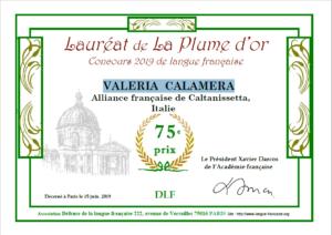 diploma di merito concorso le plume d'or 2019